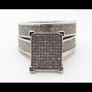 Exquisite 925 Silver 2 Piece Ring Set
